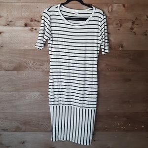 LuLaRoe Black and Heathered Gray Striped Julia